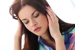 Piękna dziewczyna migrenę Fotografia Royalty Free