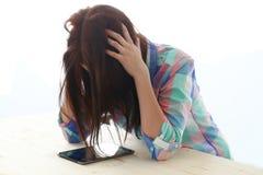 Piękna dziewczyna migrenę zdjęcie royalty free