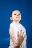 Piękna dziewczyna na błękitnym tle Zdjęcie Stock