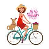 Piękna dziewczyna na rowerze Perfect wjazd, wakacje, podróży ikona obcy kreskówki kota ucieczek ilustraci dachu wektor ilustracji