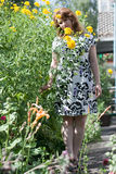Piękna dziewczyna otaczająca kolorowym kwiatu ślazem Obrazy Stock