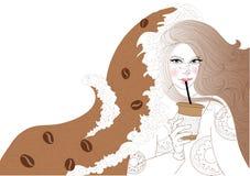 Piękna dziewczyna pije kawę ilustracja wektor