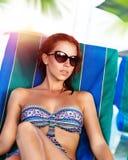 piękna dziewczyna plażowa Zdjęcia Royalty Free