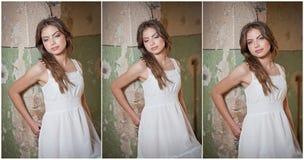 Piękna dziewczyna pozuje modę blisko starej ściany Obrazy Royalty Free