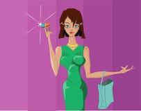 Piękna dziewczyna robi zakupy zakupy Ilustracja Wektor