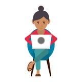 Piękna dziewczyna używa laptopu obsiadanie ilustracji