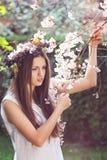 Piękna dziewczyna wśród czereśniowych kwiatów zdjęcie royalty free