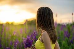 Piękna dziewczyna wśród lupine Obraz Royalty Free
