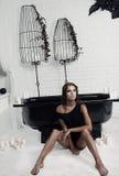 piękna dziewczyna w łazience obrazy royalty free