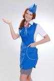 Piękna dziewczyna w błękitnych mundurach obraz stock