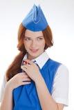 Piękna dziewczyna w błękitnych mundurach zdjęcia royalty free