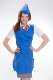 Piękna dziewczyna w błękitnych mundurach zdjęcie stock