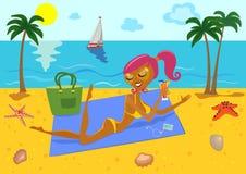 Piękna dziewczyna w bikini z koktajlem na plaży z drzewkami palmowymi Wakacje pojęcia tło ilustracji