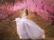 Piękna dziewczyna w brzoskwinia ogródzie zdjęcia stock