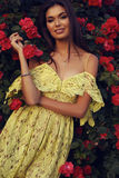 Piękna dziewczyna w eleganckiej sukni pozuje obok róża krzaków Zdjęcie Royalty Free