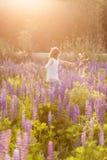 Piękna dziewczyna w kosmosu kwiatu polu przy zmierzchem oddalonego błękitny motyliego pojęcia kwiatu latający wolności nieba swal Zdjęcie Stock