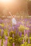 Piękna dziewczyna w kosmosu kwiatu polu przy zmierzchem oddalonego błękitny motyliego pojęcia kwiatu latający wolności nieba swal Fotografia Royalty Free