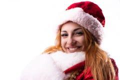 Piękna dziewczyna w kostiumu Święty Mikołaj zdjęcia royalty free