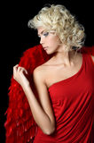 Piękna dziewczyna w kostiumu czerwony anioł Fotografia Stock