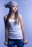 Piękna dziewczyna w nakrętce Obrazy Stock