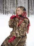 Piękna dziewczyna w parku w zimie, dziewczyna w futerkowym żakiecie Obraz Royalty Free