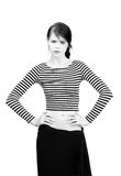 Piękna dziewczyna w pasiastej koszula Zdjęcie Stock