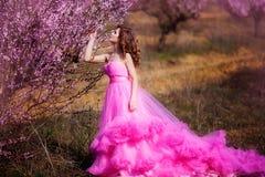 Piękna dziewczyna w różowej sukni w brzoskwinia ogródzie zdjęcie royalty free