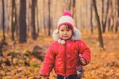 Piękna dziewczyna w zimie odziewa z lizakiem w jesień parku fotografia stock