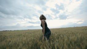 Piękna dziewczyna w zmrok sukni cieszy się życie w szerokim