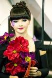 Piękna dziewczyna z artystycznym makijażem Zdjęcie Royalty Free