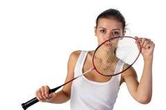 Piękna dziewczyna z badminton kantem w rękach Zdjęcia Stock