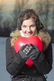 Piękna dziewczyna z czerwień balonem Obraz Stock