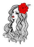 Piękna dziewczyna z czerwonym kwiatem w włosy ilustracji