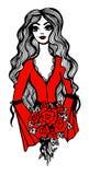 Piękna dziewczyna z czerwonymi różami w rękach Zdjęcie Stock