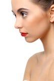 Piękna dziewczyna z perfect skóry i czerwieni pomadką fotografia stock