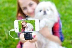 Piękna dziewczyna z psy brać obrazkami jej jaźń Obrazy Stock