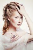 Piękna dziewczyna z splendorów bożych narodzeń makeup Obraz Royalty Free