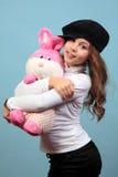 Piękna dziewczyna z zabawką obraz royalty free