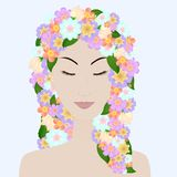 Piękna dziewczyna z zamkniętymi oczami i kwiatu włosy obrazy royalty free