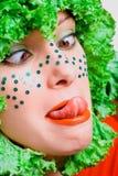 piękna dziewczyny głowy portreta sałatka Zdjęcia Royalty Free