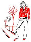 piękna dziewczyny kurtki czerwień Obrazy Royalty Free