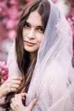 Piękna dziewczyny panny młodej brunetka zamykał przesłonę i spojrzenia z uśmiechem włosy, szczęśliwym, zbliżenie, na tle różowi k zdjęcia stock