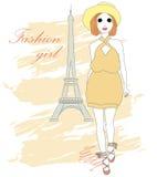 Piękna elegancka mody dziewczyna również zwrócić corel ilustracji wektora Obrazy Royalty Free