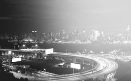 Piękna epicka czarny i biały fotografia od nowej York miasta linii horyzontu Obrazy Royalty Free