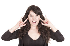 Piękna figlarnie dziewczyna gestykuluje rock and roll Zdjęcie Stock