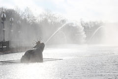 Piękna fontanna z mgłą Obrazy Stock