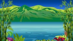 Piękna góra i rzeka ilustracja wektor