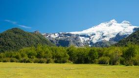 Piękna góra z śniegiem i lasem Zdjęcie Stock