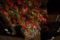 Piękna gałąź czerwone róże przeciw tłu krystaliczny świecznik Zdjęcie Stock