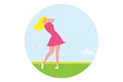 Piękna golfowa dziewczyna Żeński golfista Sport gry turniej royalty ilustracja